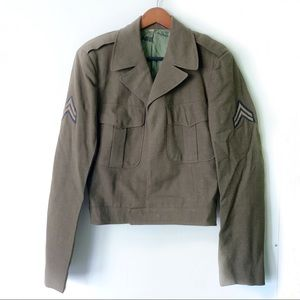 Vintage 1950s Cropped Army Green Wool Jacket XL